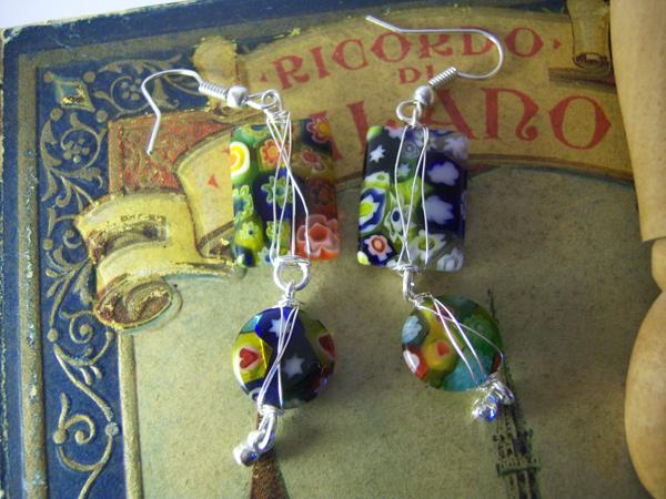 画像1: ヴェネチアングラスをふんだんに使ったカジュアルピアス 【カラー・マルチ】