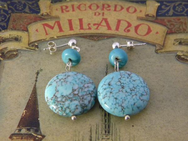 画像1: 大粒トルコ石の爽やかブルーを耳元に ピアス 【カラー・ブルー】