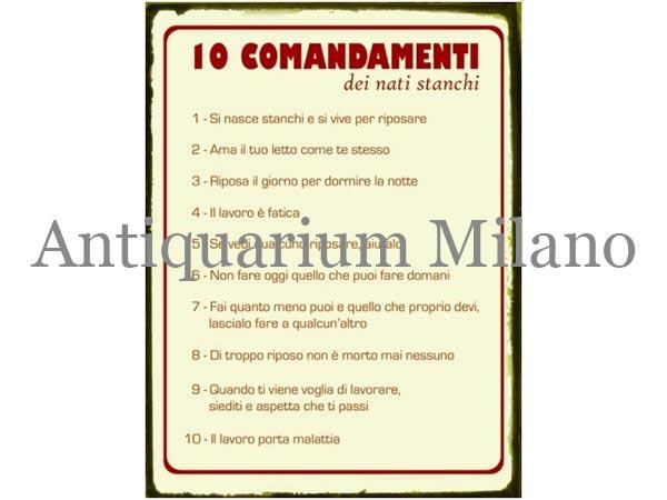 画像1: イタリア語パネル やる気の無い人の10か条 10 comandamenti dei nati stanchi 【カラー・レッド】