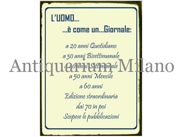 画像1: イタリア語パネル 男は新聞のようだ L'uomo... e' come un... Giornale 【カラー・ブルー】