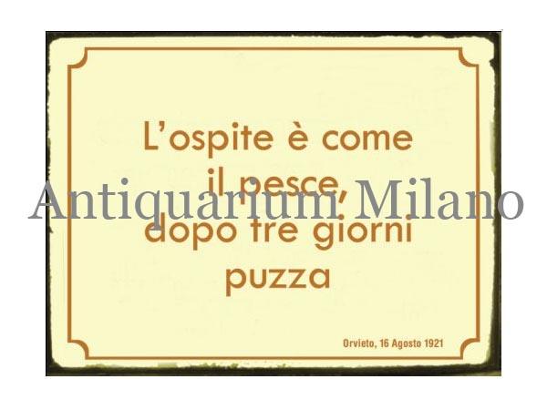 画像1: イタリア語パネル 客と魚は三日もすれば… L'ospite e' come il pesce... 【カラー・イエロー】