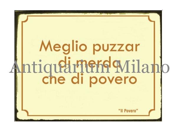 画像1: イタリア語パネル 貧しいよりは… Meglio puzzar di merda... 【カラー・イエロー】