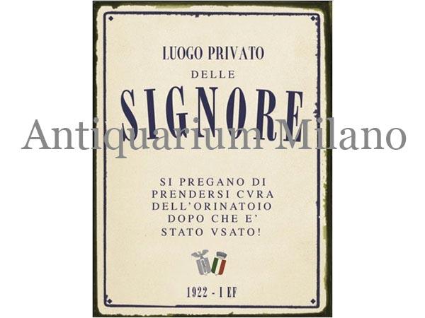 画像1: イタリア語パネル 婦人専用お手洗い LUOGO PRIVATO DELLE SIGNORE 【カラー・ブルー】