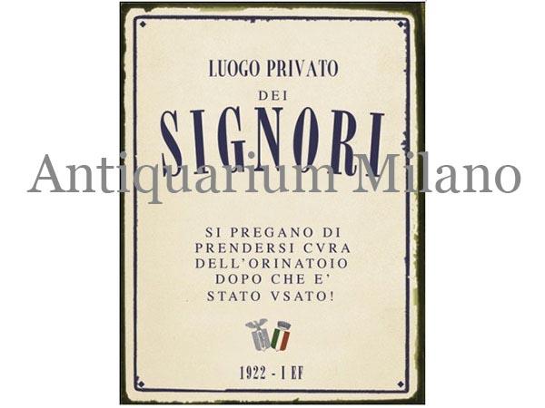 画像1: イタリア語パネル 男性専用お手洗い LUOGO PRIVATO DELLE SIGNORI 【カラー・ブルー】