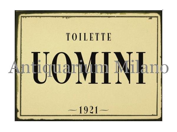 画像1: イタリア語パネル お手洗い紳士用 TOILETTE UOMINI 【カラー・ブラック】