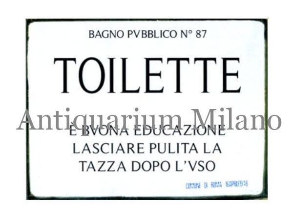 画像1: イタリア語パネル 公衆トイレ BAGNO PUBBLICO N.87 TOILETTE 【カラー・ブラック】