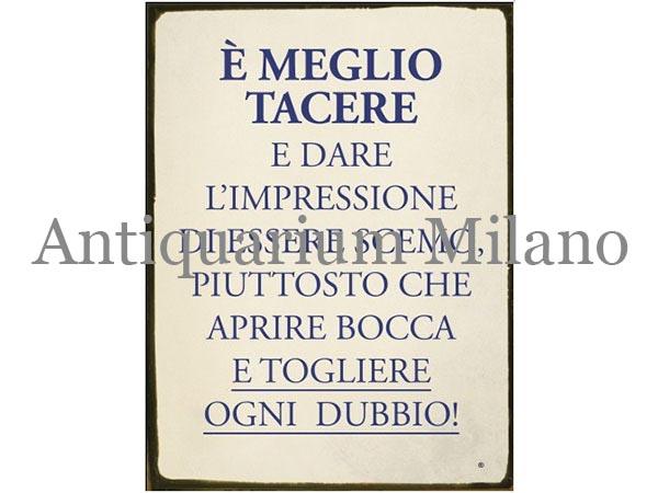 画像1: イタリア語パネル 無口な方が良い E' MEGLIO TACERE 【カラー・ブルー】