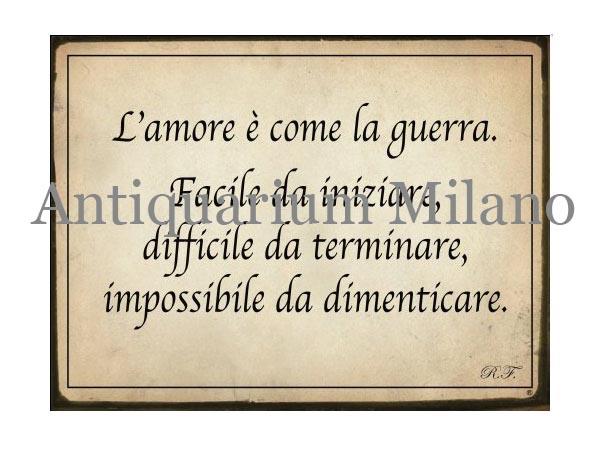 画像1: イタリア語パネル 愛とは戦争のようなものである… L'amore e' come la guerra 【カラー・イエロー】