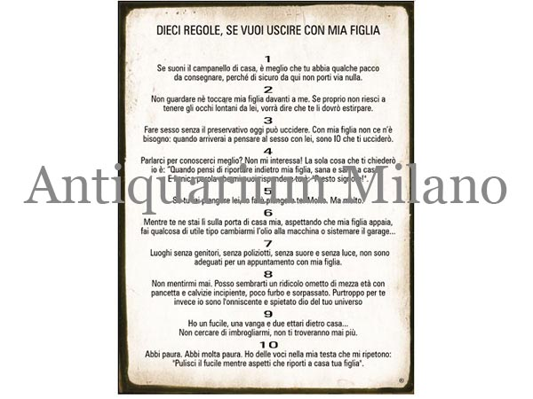 画像1: イタリア語パネル 俺の娘と出かけたい場合の10か条 DIECI REGOLE  SE VUOI USCIRE CON MIA FIGLIA 【カラー・イエロー】