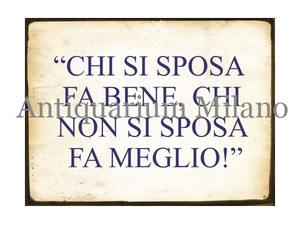 画像1: イタリア語パネル 結婚する人は… CHI SI SPOSA FA BENE... 【カラー・イエロー】