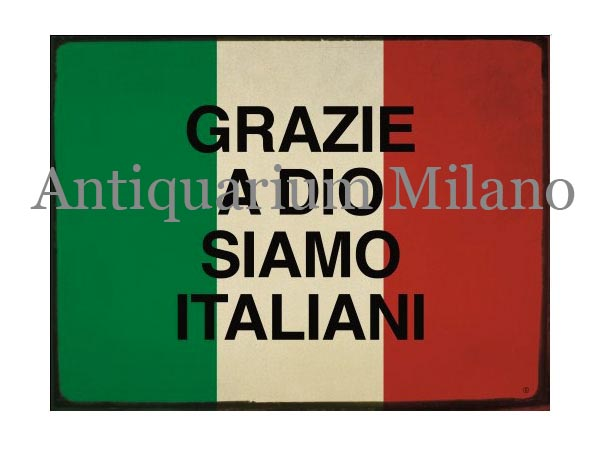 画像1: イタリア語パネル 神様のお陰で我らはイタリア人だ GRAZIE A DIO SIAMO ITALIANI 【カラー・レッド】【カラー・グリーン】