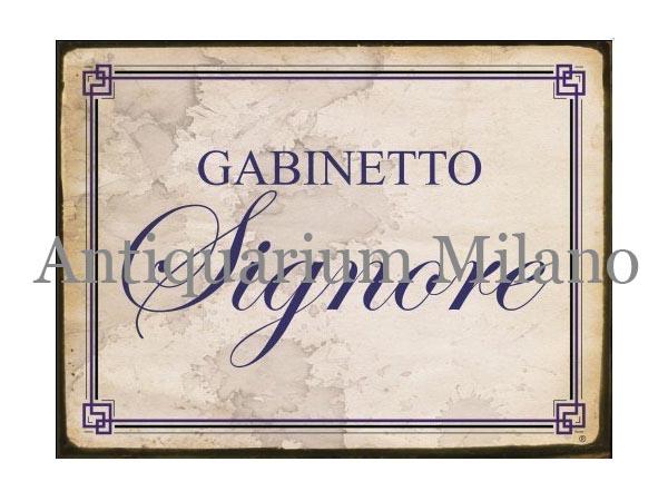 画像1: イタリア語パネル お手洗い婦人用 GABINETTO SIGNORE 【カラー・ブルー】
