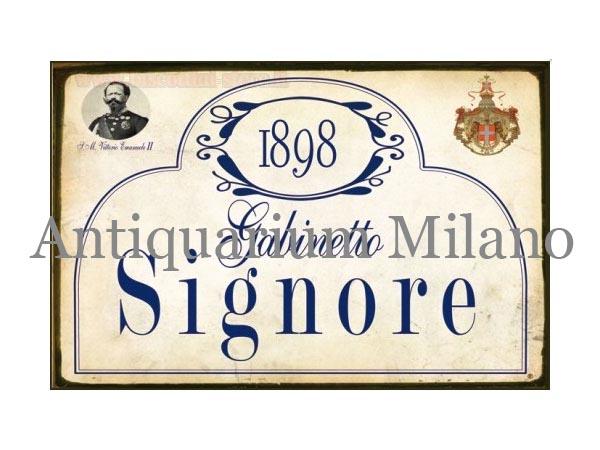 イタリア語パネル お手洗い婦人用 1898 GABINETTO SIGNORE 【カラー・ブルー】