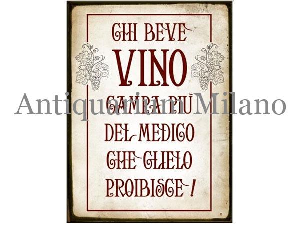 画像1: イタリア語パネル ワインを飲む人は… CHI BEVE VINO CAMPA PIU' DEL MONDO... 【カラー・レッド】