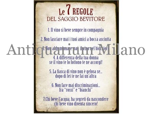 イタリア語パネル 賢明な酒飲みの7つの条件 Le 7 REGOLE DEL SAGGIO BEVITORE