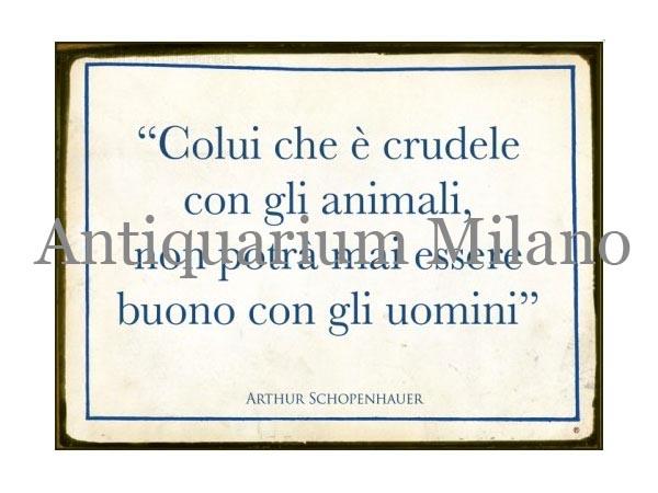 画像1: イタリア語パネル 動物に対して… Colui che e' crudele... 【カラー・ブルー】