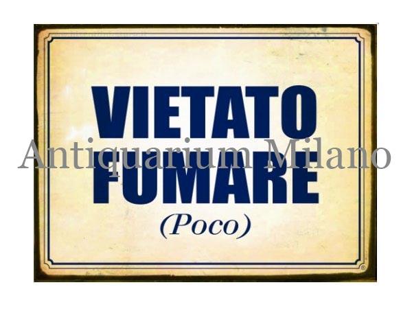 イタリア語パネル 禁煙(ちょっとなら大丈夫) VIETATO FUMARE (POCO) 【カラー・ブルー】