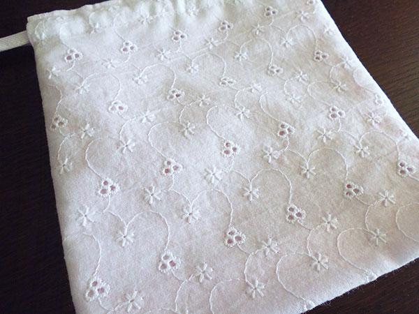 画像3: Ciuccio Milano イタリア製ベビーアイテム マチ付き巾着袋 ピュアホワイト コットン100%【カラー・ホワイト】【カラー・ピンク】