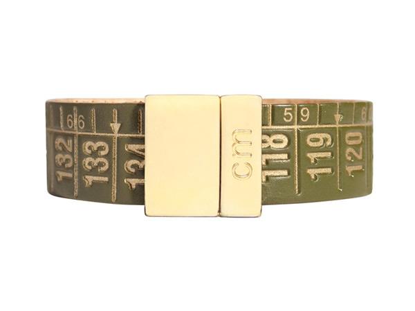 画像1: イタリアンレザーを使ったメジャー・ブレスレット 24金仕様 レザー Green Gold 【カラー・イエロー】 【カラー・グリーン】
