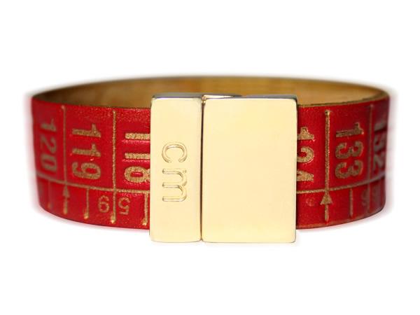 画像1: イタリアンレザーを使ったメジャー・ブレスレット 24金仕様 レザー Red Gold 【カラー・イエロー】 【カラー・レッド】