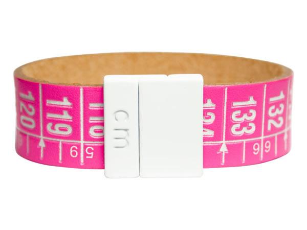 画像1: イタリアンレザーを使ったメジャー・ブレスレット レザー New York Fashion 【カラー・ピンク】【カラー・ホワイト】