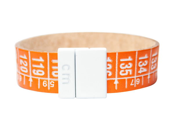 画像1: イタリアンレザーを使ったメジャー・ブレスレット レザー Energy Orange 【カラー・オレンジ】【カラー・ホワイト】