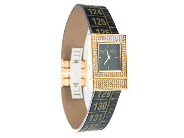 画像1: イタリアンレザーを使ったメジャー・ブレスレット腕時計 24金・スワロフスキー仕様 レザー Royal Diamond 【カラー・ブラック】
