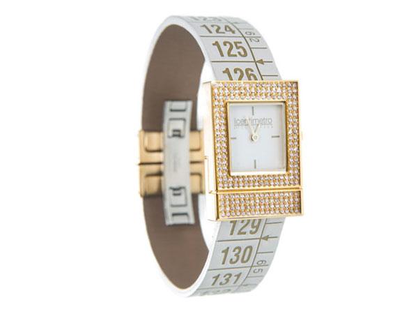 画像1: イタリアンレザーを使ったメジャー・ブレスレット腕時計 24金・スワロフスキー仕様 レザー Queen Diamond 【カラー・ホワイト】