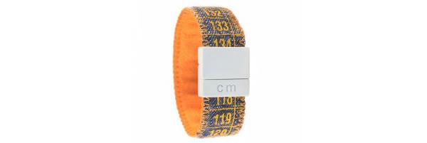 画像1: イタリアンレザーを使ったメジャー・ブレスレット デニム Denim Orange 【カラー・オレンジ】【カラー・ブルー】