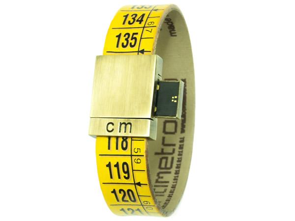 画像1: イタリアンレザーを使ったメジャー・ブレスレット レザー Classic Yellow USBメモリー付き 8GB 【カラー・イエロー】【カラー・ブラック】