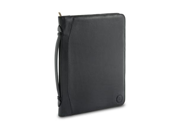 画像1: Nuvola Pelle ファスナー開閉 本革 持ち手・iPadホルダー付き ドキュメントケース 【カラー・ブラック】