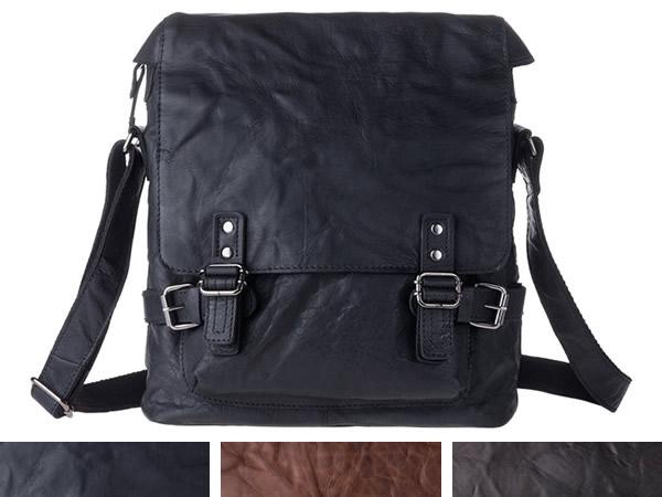 画像1: DuDu シワ加工本革メンズ ショルダーバッグ 3色 【カラー・ブラウン】【カラー・ブラック】