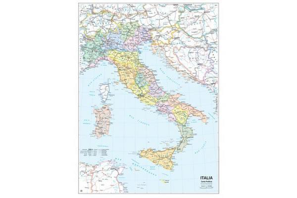 画像1: イタリア マップ 97 x 134 cm