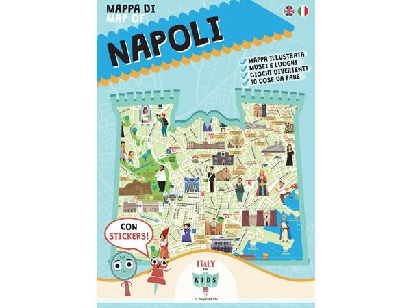 画像1: イタリア語、英語で読む 絵本マップ 「Mappa di Napoli illustrata」シール付き 対象年齢7歳以上【A1】