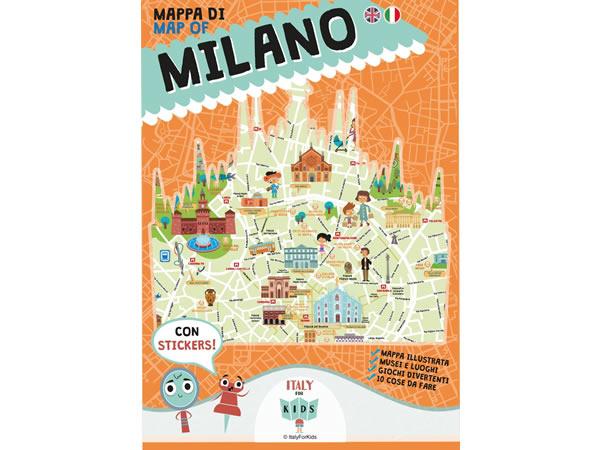 画像1: イタリア語、英語で読む 絵本マップ 「Mappa di Milano illustrata」シール付き 対象年齢7歳以上【A1】