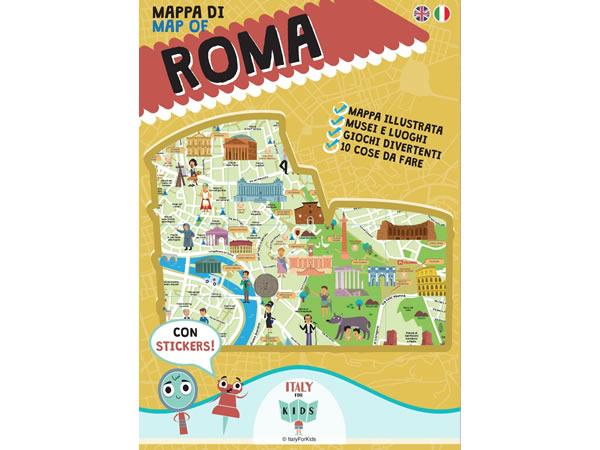 画像1: イタリア語、英語で読む 絵本マップ 「Mappa di Roma illustrata」シール付き 対象年齢7歳以上【A1】