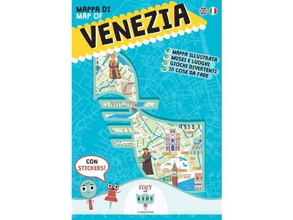 画像1: イタリア語、英語で読む 絵本マップ 「Mappa di Venezia illustrata」シール付き 対象年齢7歳以上【A1】