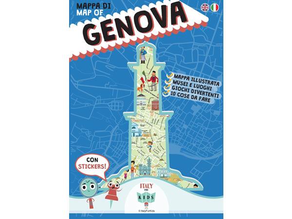 画像1: イタリア語、英語で読む 絵本マップ 「Mappa di Genova illustrata」シール付き 対象年齢7歳以上【A1】