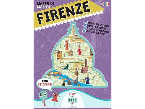 画像1: イタリア語、英語で読む 絵本マップ 「Mappa di Firenze illustrata」シール付き 対象年齢7歳以上【A1】