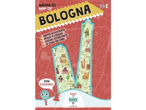 画像1: イタリア語、英語で読む 絵本マップ 「Mappa di Bologna illustrata」シール付き 対象年齢7歳以上【A1】