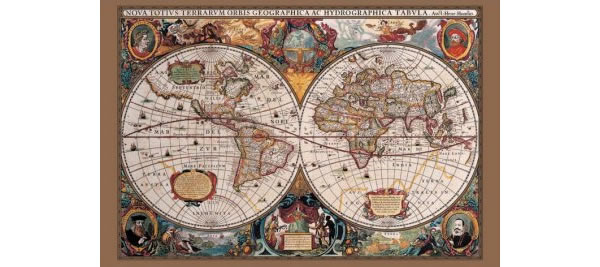画像1: 17世紀の世界地図 マップ 91 x 61 cm