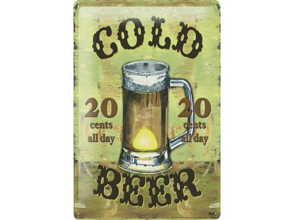 画像1: アンティーク風サインプレート ビール・バー パブ 30x20cm【カラー・マルチ】