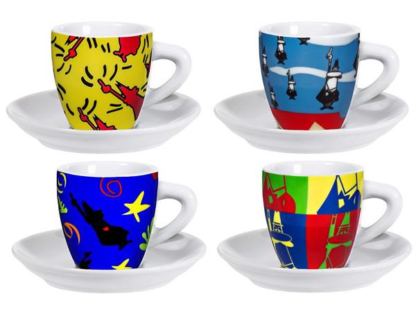 画像1: エスプレッソコーヒーカップ 4客セット Bialetti(ビアレッティ)ARTE POP【カラー・マルチ】