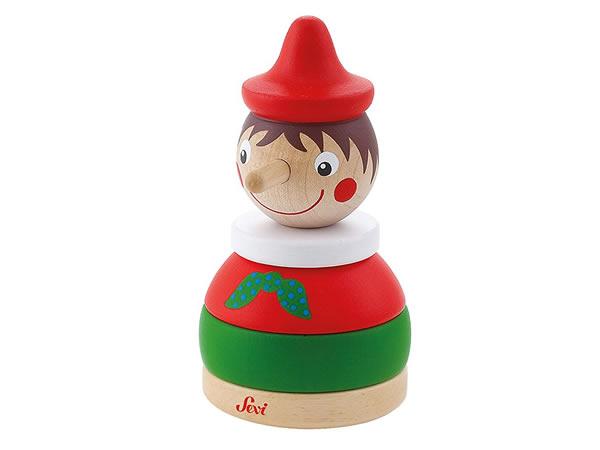 画像1: イタリア ピノッキオの木製スタッキング人形【カラー・レッド】【カラー・グリーン】