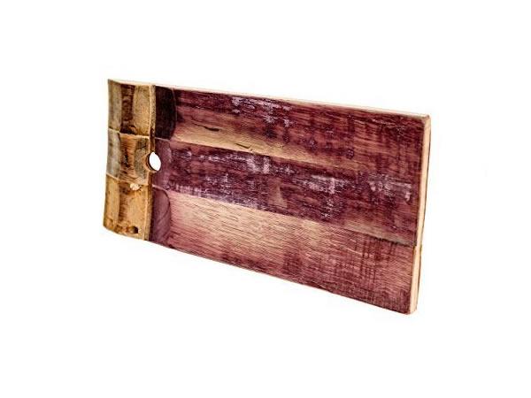 画像1: イタリア ワイン樽のピザ用プレート 木製 台形【カラー・ブラウン】