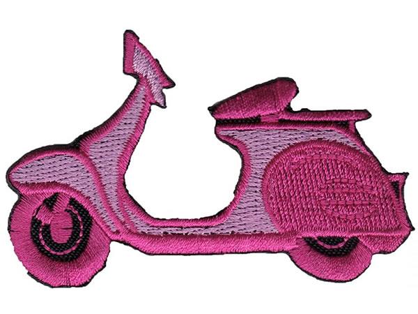 画像1: イタリア 刺繍ワッペン Vespa pink  【カラー・ブラック】【カラー・ピンク】