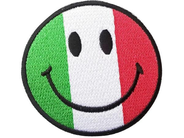 画像1: イタリア 刺繍ワッペン イタリア国旗 Smiley Italiana 【カラー・ホワイト】【カラー・レッド】【カラー・グリーン】