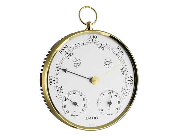 画像1: シンプルな温度計・気圧計・湿度計 ゴールド【カラー・ホワイト】【カラー・イエロー】