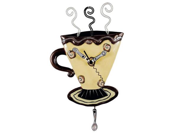 画像1: コーヒーカップモチーフの掛け時計【カラー・ブラック】【カラー・イエロー】