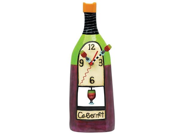画像1: カベルネ・ワインボトルがモチーフの可愛い振り子・掛け時計【カラー・マルチ】【カラー・ワイン】